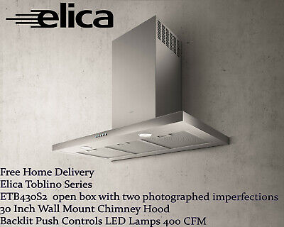Elica Toblino ETB430S2 30 Inch Wall Mount Chimney Hood Backlit LED open box