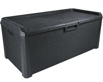 Santo Gartenbox Kissenbox Sitztruhe Rattan Optik Sitzbank Auflagenbox anthrazit