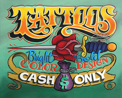 Tattoo Shop Print Cash Only policy art ink artist studio parlor