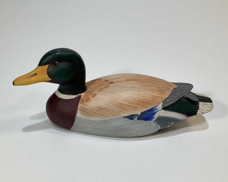 Wooden Mallard Duck Hand Carved & Painted Decoration/Display/Desk Decoy