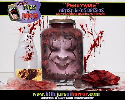 Pennywise Head in a Jar  - Halloween Decor / Horror Art / Haunted House Prop - - Head In A Jar Halloween Prop