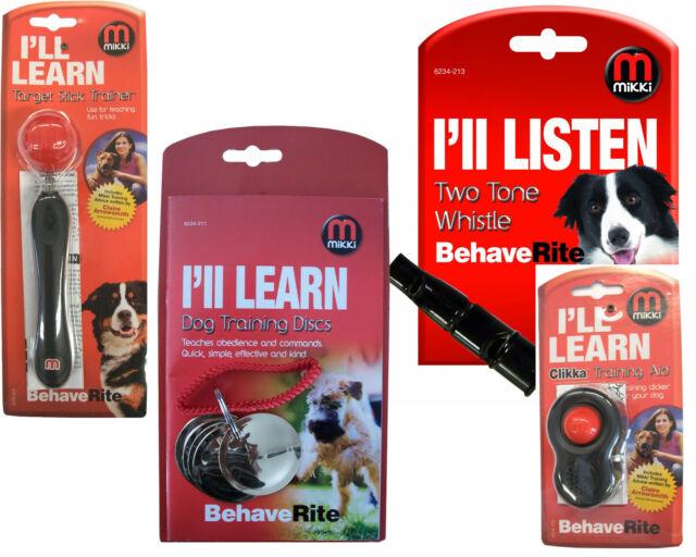 Mikki Dog Puppy Training Clikka Click Target Stick Discs Clicker Obedience