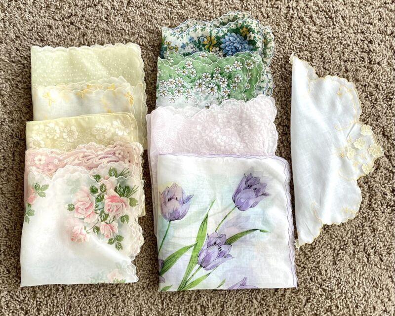 VTG HANDKERCHIEF HANKIE Lot 10 SHEER Nylon Flocked(5) Flowers Rose Ribbons 1 Rd