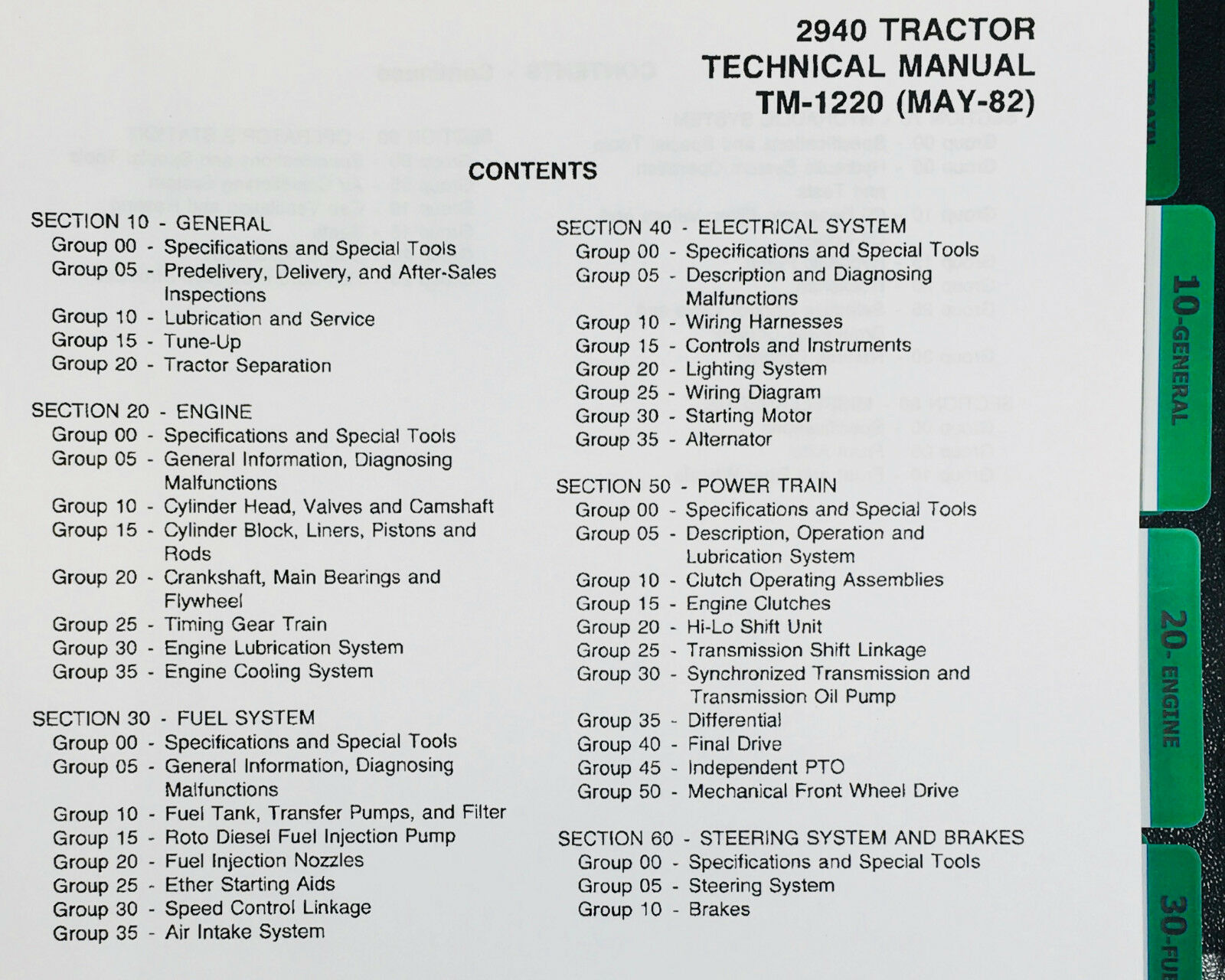 TECHNICAL SERVICE MANUAL JOHN DEERE 2940 TRACTOR TM-1220