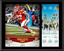 Travis Kelce KC Chiefs 12 x 15 Super Bowl LIV Champs Plaque & Replica Ticket