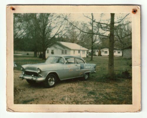 Vintage Polaroid 1955 Chevy Race Car Confederates Garage Chevrolet Racing Photo