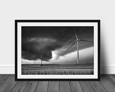 Black and white tornado photography print wind turbine on Iowa landscape picture Black And White Photography
