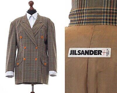 Vintage Women's JIL SANDER Double Breasted Blazer Coat Jacket Wool Checked Green