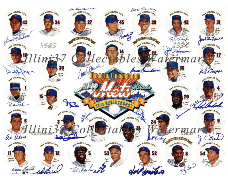 1969 NEW YORK METS WORLD SERIES CHAMPIONS SIGNED AUTOGRAPHED 8X10 TEAM PHOTO RP