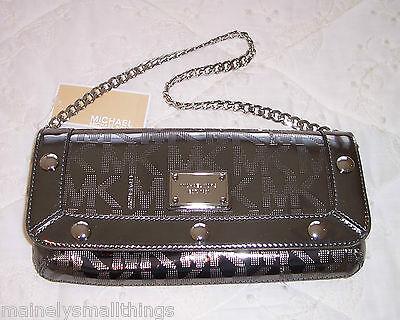 NWT Michael Kors DELANCY DELANCEY Clutch Bag MK Sig Mirror Metallic Nickel