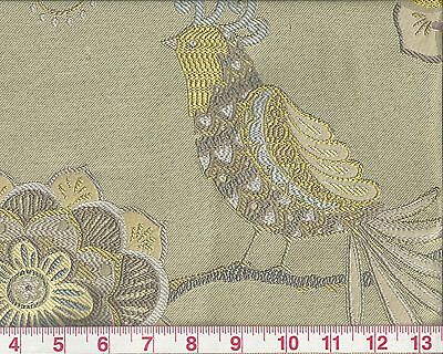 Jacobean Floral w Birds P Kaufmann Upholstery Fabric How Tweet Chartreuse
