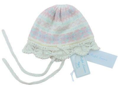 RALPH LAUREN Baby Girl warm HAT 3/6M fairisle eyelet scallop ruffles in GIFT BOX