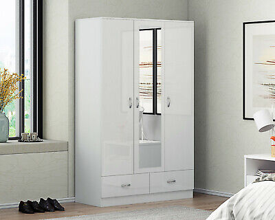 Mirrored 3 door High Gloss White Doors Soft Close Wardrobe with Drawers
