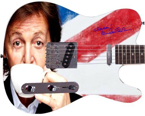 The Beatles Paul McCartney Sipping Tea Autographed Photo Guitar
