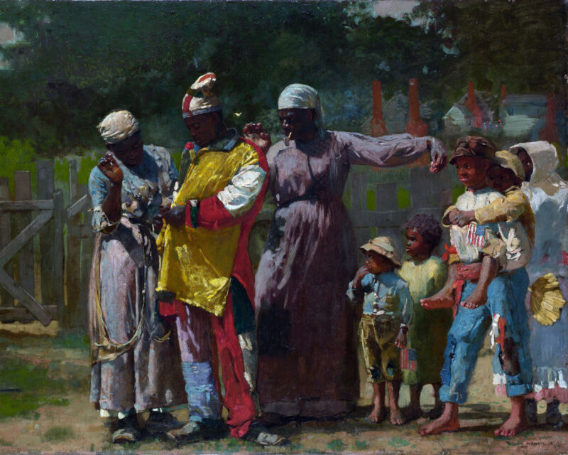 African American Family Dressed For The Carnival Painting Real Canvas Art Print