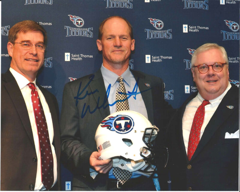 TENNESSEE TITANS KEN WHISENHUNT SIGNED HEAD COACH 8X10 PHOTO W/COA