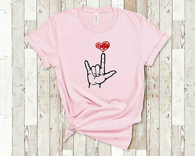 ASL I Love You Hand Heart American Sign Language Shirt for Sign Language Gifts f