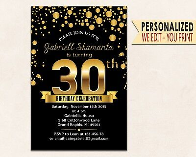 Gold invitations 30th 40th 50th 60th Invitations Party Invites Birthday Invites  (50th Birthday Party Invitations)