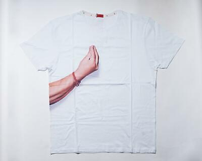 Isaia $250 NWT White Graphic Print Hand Gesture Cotton Short Sleeve T Shirt XXL