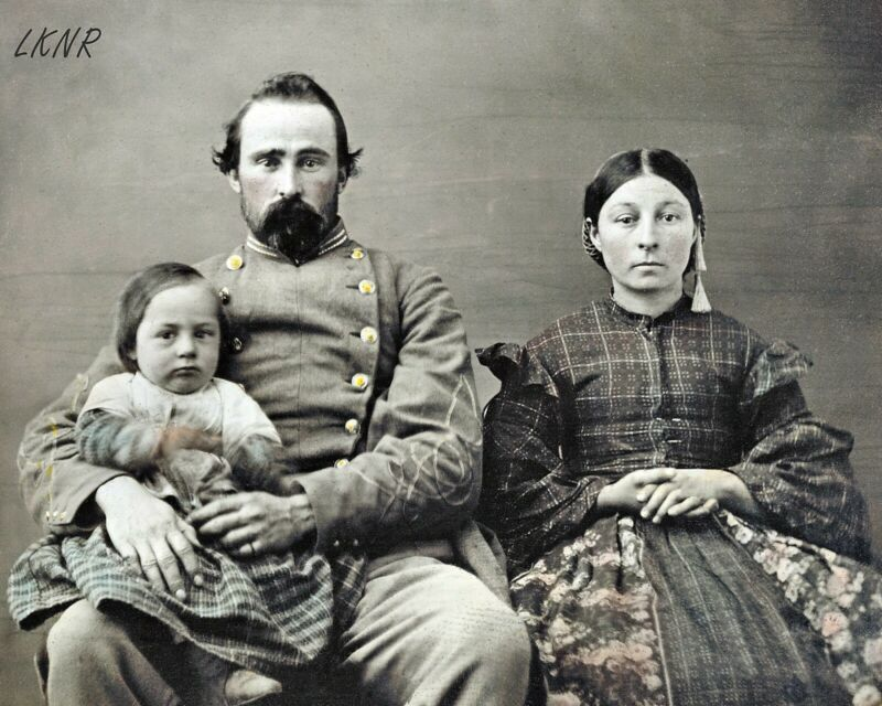 8 by 10 Civil War Photo Print Confederate Soldier Officer with Woman, Baby