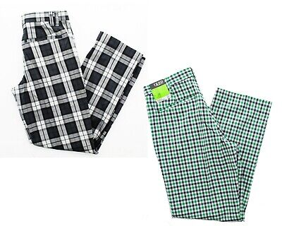 Izod Mens Fancy Plaid Flat Front Classic Fit Straight Leg Golf Dress Pants (Plaid Pants Mens)