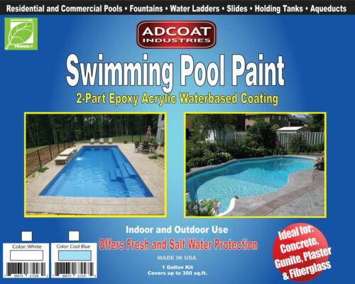 Swimming Pool Paint, 2-Part Epoxy Acrylic Coating - 1 Gallon Kit, 3 colors Avail