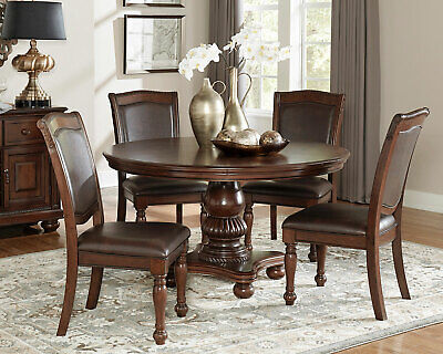Traditional Cherry Brown Finish 5 piece Dining Room Round Table & Chairs Set C5M