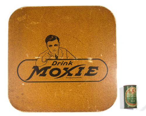 Vintage Drink Moxie Sign Soda Fountain Display Masonite Press Board Advertising