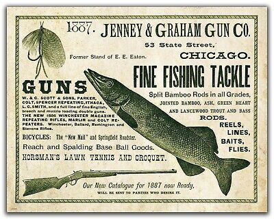 Vintage Fly Fishing Lures Hunting Guns Advertising Art Print Cabin Wall Decor