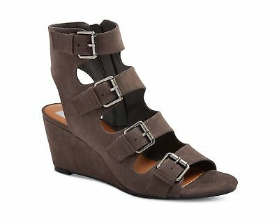Brand New Dolce Vita LeeAnn Grey Wedge Heel Gladiator Sandals Open Toe