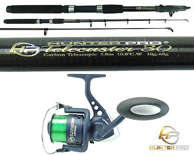 Telescopic 10ft Fishing Rod & Reel Carbon Travel Pike Bass spinning tele Rod