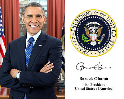 President Barack Obama Presidential Seal Autograph 8 x 10 Photo Photograph
