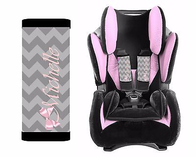 PERSONALIZED BABY TODDLER CAR SEAT STRAP COVERS GRAY CHEVRON PINK BOW - Toddler Pink Car