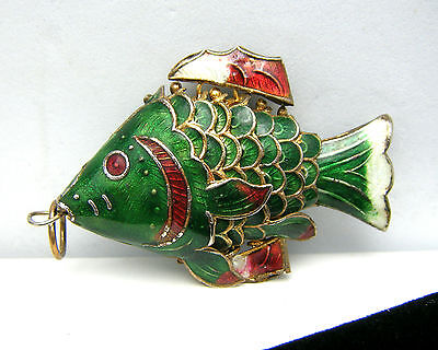 Vintage Chinese Champleve Enamel Large Fish Pendant Perch Articulated on Lookza