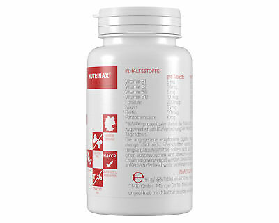 Nutrinax Vitamin B Komplex - 365 Vitamin B Tabletten hochdosiert Vitamin B6 B12