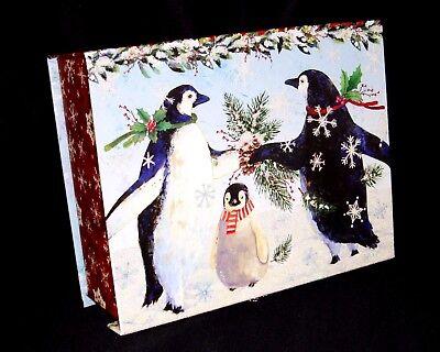 Punch Studio Jewel Flip Top Nesting Box Christmas Penguin Family 43080 Large