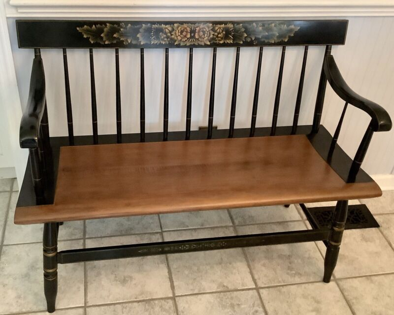 BEAUTIFUL Classic Authentic L. HITCHCOCK Chair Co. Black Harvest BENCH!