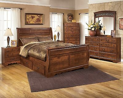 Ashley Furniture Timberline Queen Storage 7 Piece Sleigh Bedroom B258