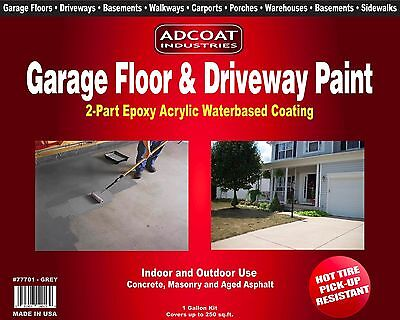 Garage Floor Driveway Paint - 2-part Epoxy 1 Gal Kit White Color
