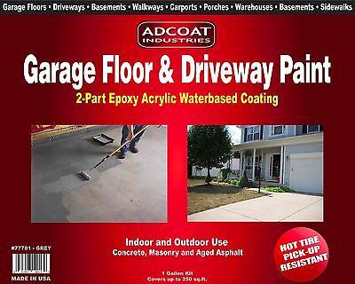 AdCoat Garage Floor & Driveway Paint-Waterbased 2-Part Epoxy 1g. kit, Lt. Grey