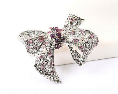 Vintage 1970s Silver Tone and Purple Rhinestone Bow Brooch
