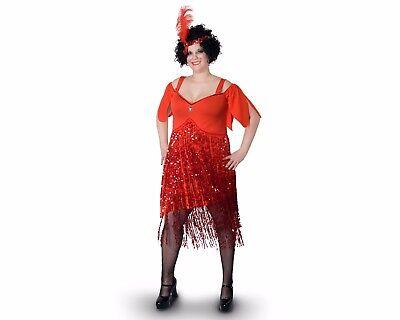 Women Female Flapper Dress Red Plus Size Halloween Costume Headpiece XXXL XXL XL - Female Plus Size Halloween Costumes