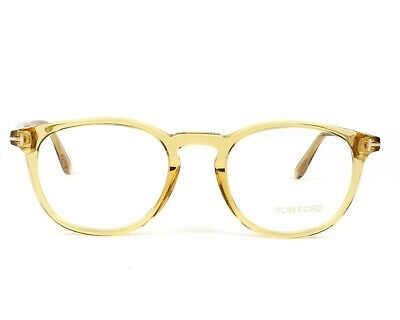 Tom Ford FT 5401 041 Transparent Yellow Eyeglasses 51mm with clip on frame bnwt