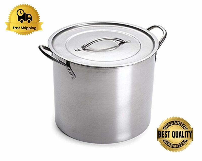 20 Qt Stainless Steel Stock Pot Quart Large Kitchen Soup Big