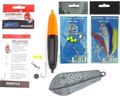 SEA FISHING TACKLE SET INCLUDES FLOAT HOOKS WEIGHTS FEATHERS RIG WEIGHT.