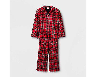 Boys/Girls/Kids Plaid 2-Pc LS Button-Down Red Plaid Holiday/Christmas Pajama Set