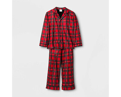 Boys/Girls/Kids Plaid 2-Pc LS Button-Down Red Plaid Holiday/Christmas Pajama - Red Plaid Christmas Pajamas