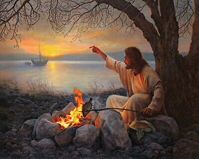 Greg Olsen Giclee Limited Edition Canvas Art Print (CAST YOUR NETS) 24X30 24 X 30 Giclee Canvas