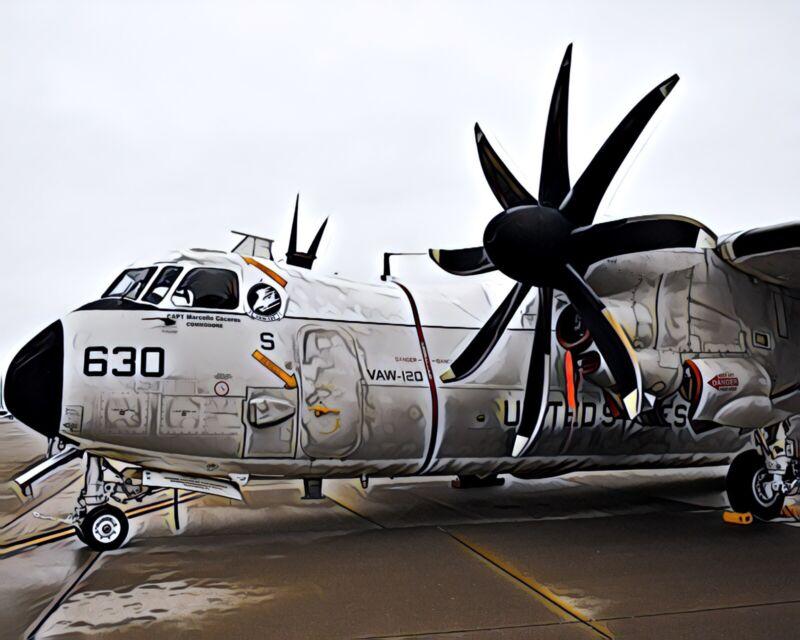 US Navy C-2 Greyhound Artistic Style Print 8x10