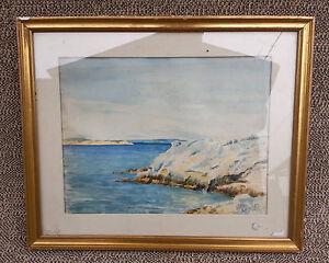 ancien tableau cadre en bois paysage marin sous verre sign french antique ebay. Black Bedroom Furniture Sets. Home Design Ideas